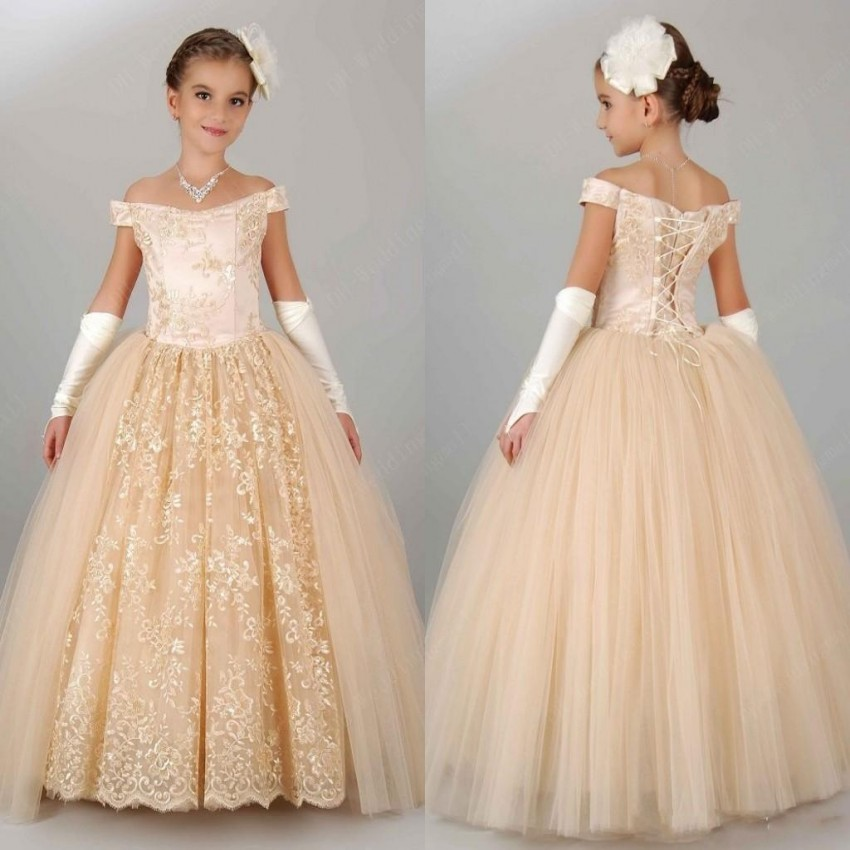 2016 vintage ball gown floor length cap sleeve flower girl for Dresses for girls wedding