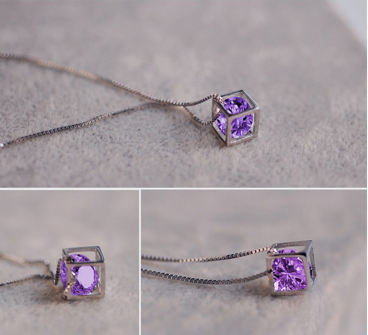 Silver plated Color Purple Rhinestone fashion love magic cube necklace pendant decoration Wave Chain women girl A1092a - Redavid Store store