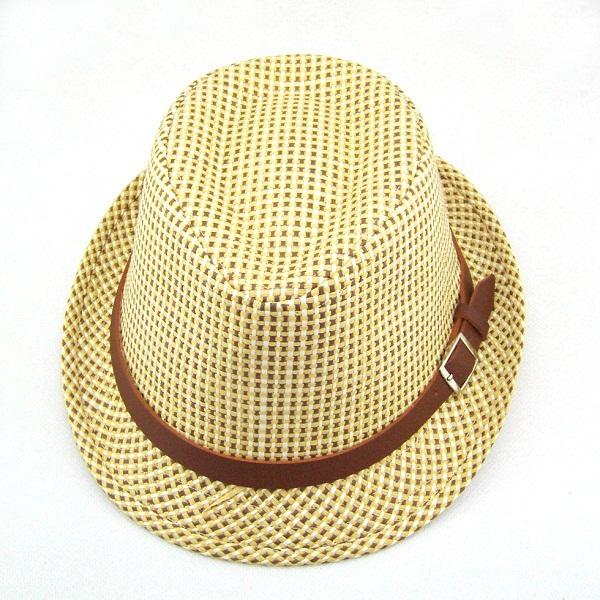 Kids sunhats children straw fedora hat Boys Summer beach caps Beach hat Kids cap Free shipping 10pcs BH165(China (Mainland))