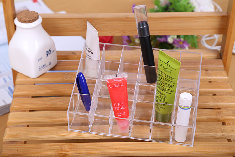 Clear 24 Trapezoid Makeup Lipstick Cosmetic Storage Stand Holder Display Case Organizer - Shenzhen Gache Trading Limited store
