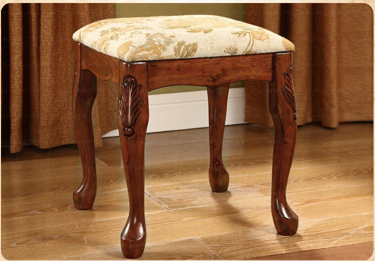 Top Sell Solid Wood Birch Handmade Woman Furniture Girl Dresser Stool Chair With Flower Bedroom Decor Design China Hot(China (Mainland))