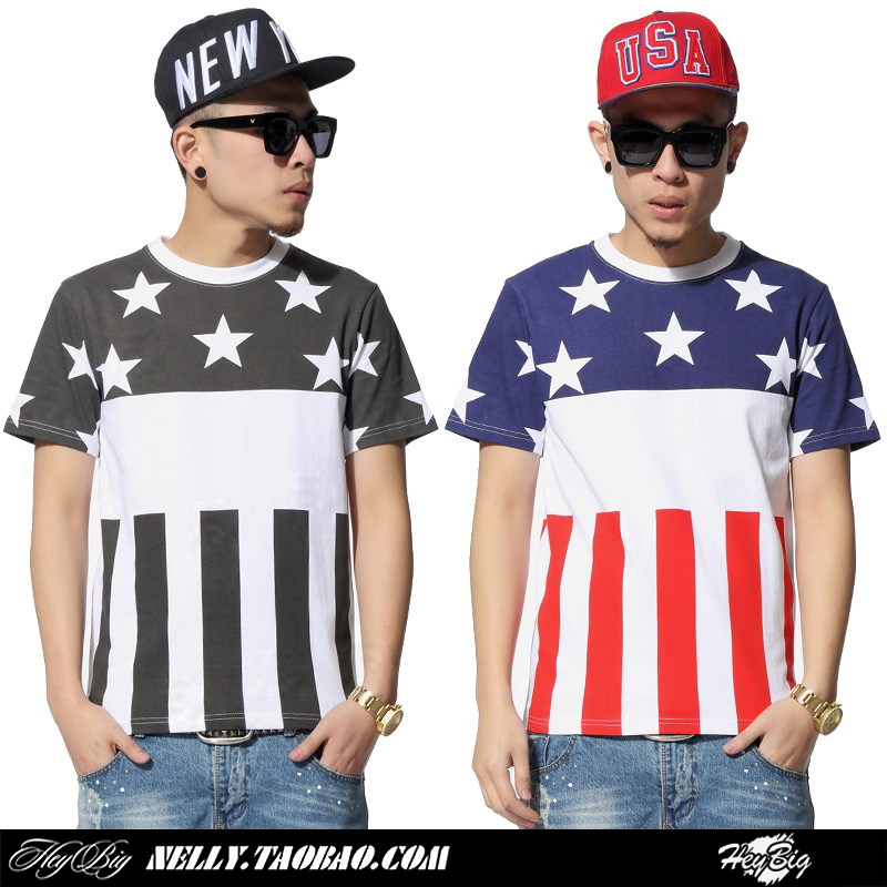 2015 new fashion mens tshirt summer Stripe american flag color star patchwork male basketball sports o-neck short-sleeve T-shirt - Sendu Mall store