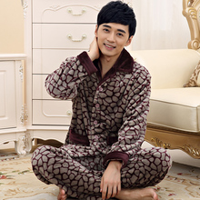 New Luxury Men's Pajamas Warm Autumn And Winter Flannel Sleepwear Thickening Mens Pyjamas Sleep Lounge Pajama Sets Plus size 4XL(China (Mainland))