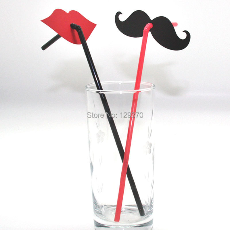 Shipping Free 20 Creative Wedding Party Supplies Black Beard red lips Straws - party garden store