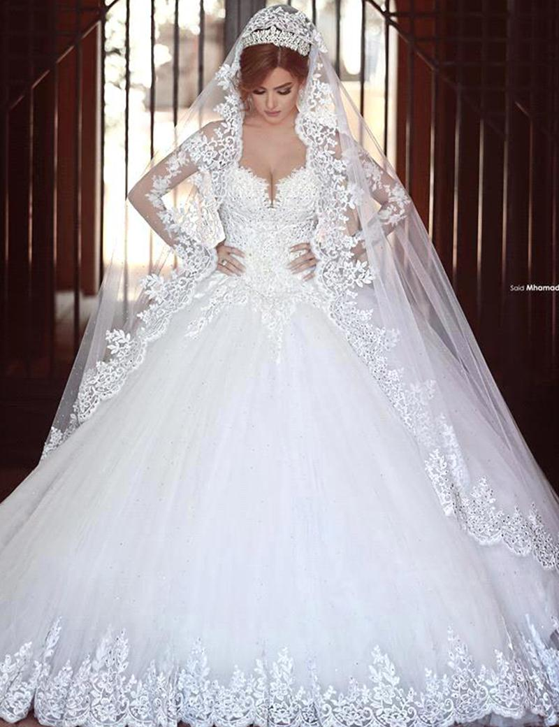 Romantic princess long sleeve white lace wedding dress for Lace white wedding dress