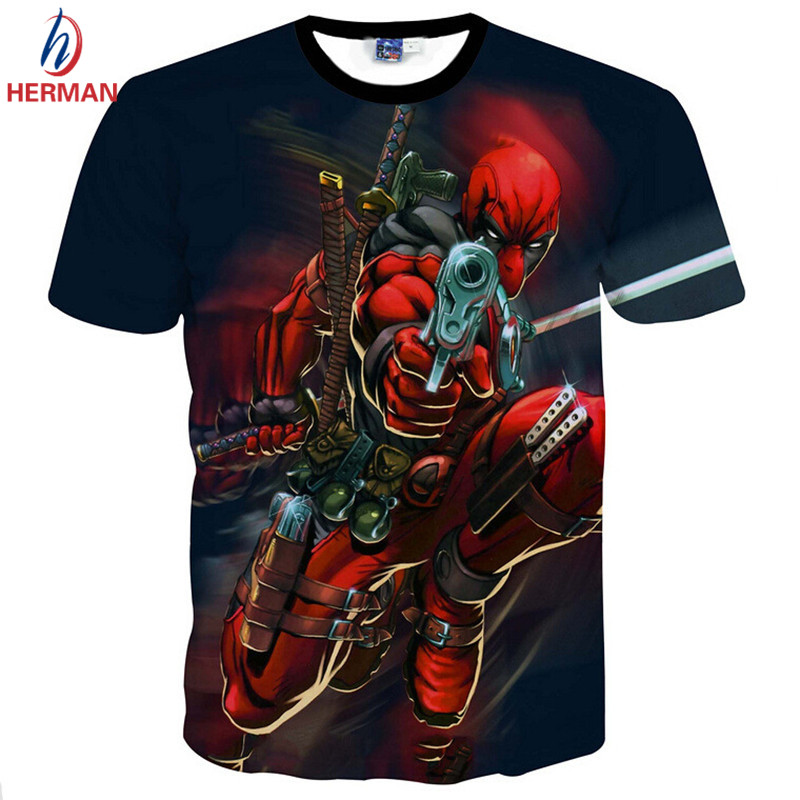016 New Arrive American Comic Badass Deadpool T-Shirt Tees Men Women Cartoon Characters 3d t shirt Funny Casual tee shirts topsОдежда и ак�е��уары<br><br><br>Aliexpress
