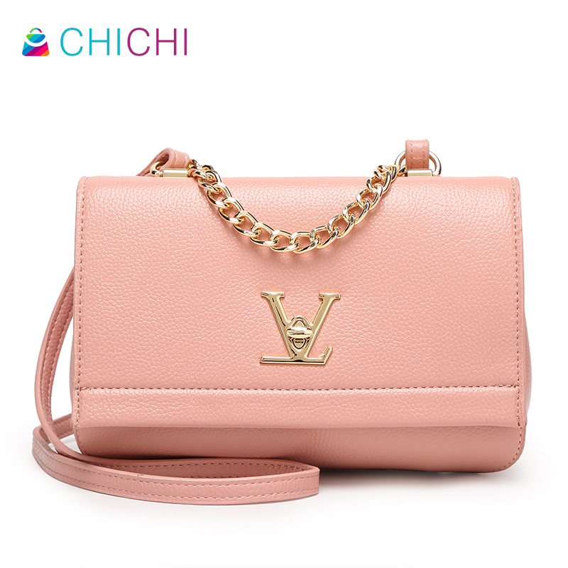 CHICHI 2016 High Quality Leather Handbags Famous Brand Ladies Pink Crossbody Bags Women Tote Simple Small Chain Evening Clutch(China (Mainland))