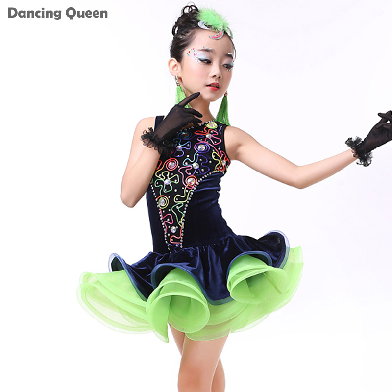 2016 Latin Dance Skirt Girls 3pcs(Dress&amp;Headwear&amp;Gloves) Children Dance Costumes Kids Dance Costumes For Competition Samba DressОдежда и ак�е��уары<br><br><br>Aliexpress