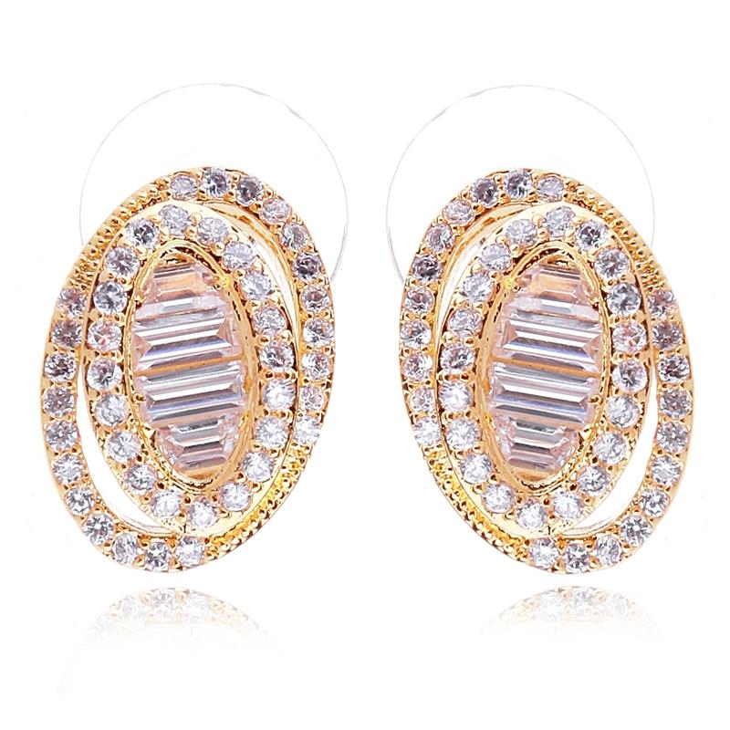 Love Deluxe Earrings-New weding earrings Oval shape Luxury cc earrings for women Jewelry fashion 2016 Wedding gift Free shipping(China (Mainland))