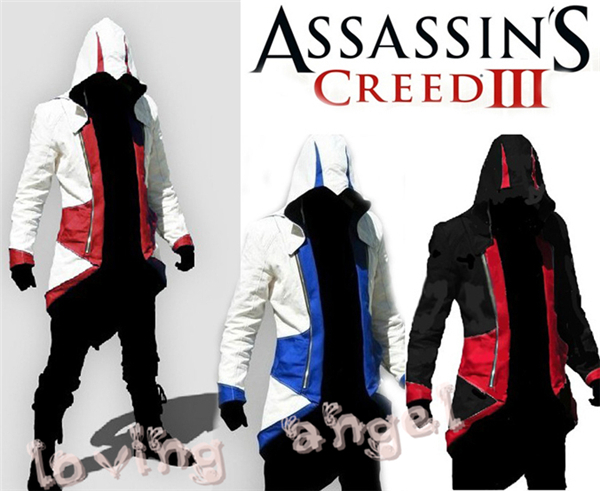 Assurance 3 New Men's Fashion Kenway Anime Jackets Cosplay Costume Assassins Creed Conner Blue Hoodie Coat Free Shipping