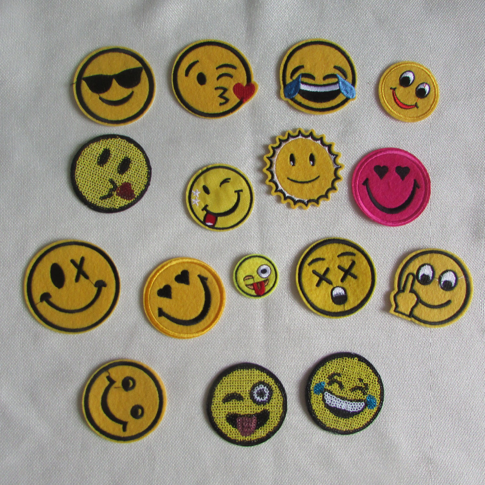 16 kind child like smiling face patches stripes hot melt adhesive applique embroidery patch DIY decoration accessory 1pcs sell