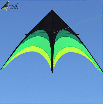 New Hi-Q 2m Power Hengda Kite-For Kids and Adults!Umbrella Cloth Prairie /Green Triangle Kite with Long Ribbon Good Flying(China (Mainland))