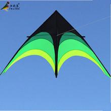 New Hi-Q 2m Power Hengda Kite-For Kids and Adults!Umbrella Cloth Prairie /Green Triangle Kite with Long Ribbon Good Flying(China (Mainland))