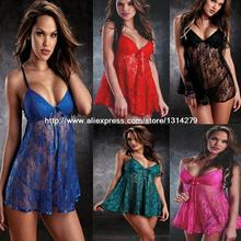 Free Shipping Sexy 2015 New See Through Pajama Lace Lingerie V Neck Dress Sleepwear Plus Size M-3XL Red Blue Green Black(China (Mainland))