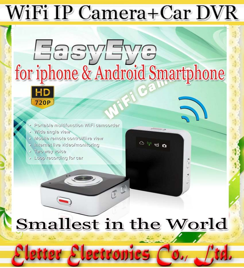 easy eye smallest Mini WiFi Camera + Car DVR IP Camera for iphone android smartphone with retail box free shipping(China (Mainland))