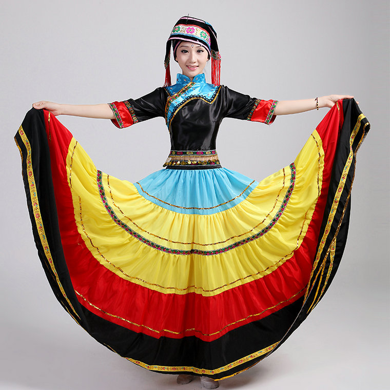 Hmong Miao trajes de baile swing grande Yi Miao Dong ropa puesta en escena ropa minoría china conjunto falda de la extensión(China (Mainland))