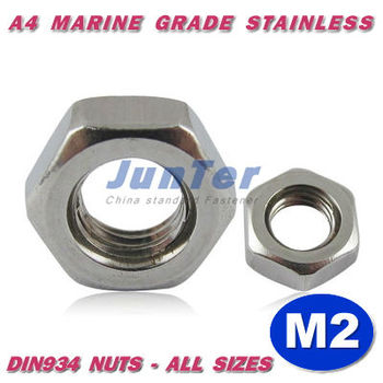 1000pcs/lot DIN934 M2 A4 Marine Grade Stainless Hex Nuts Metric