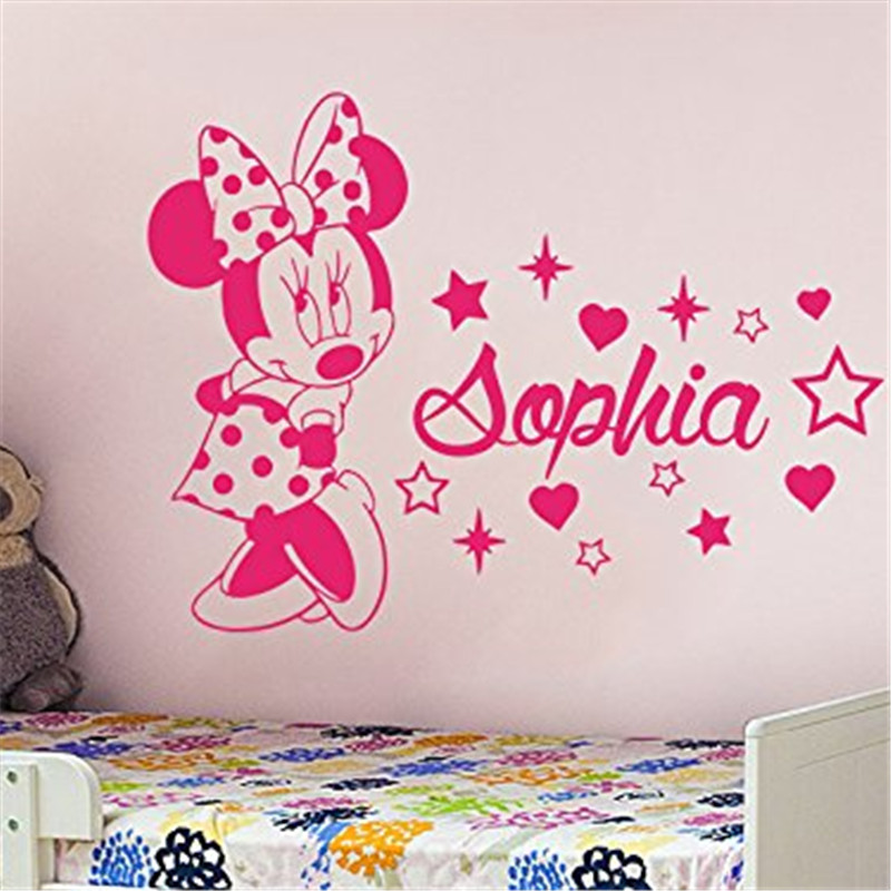 Creative minnie custom kids name baby wall stickers for for Stickers deco