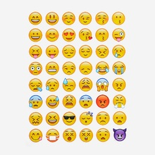 One Sheet/ 48 Pieces Smily Face Emoji Stickers For Notebook Message Twitter Large Viny Instagram Classical Kids Toys(China (Mainland))