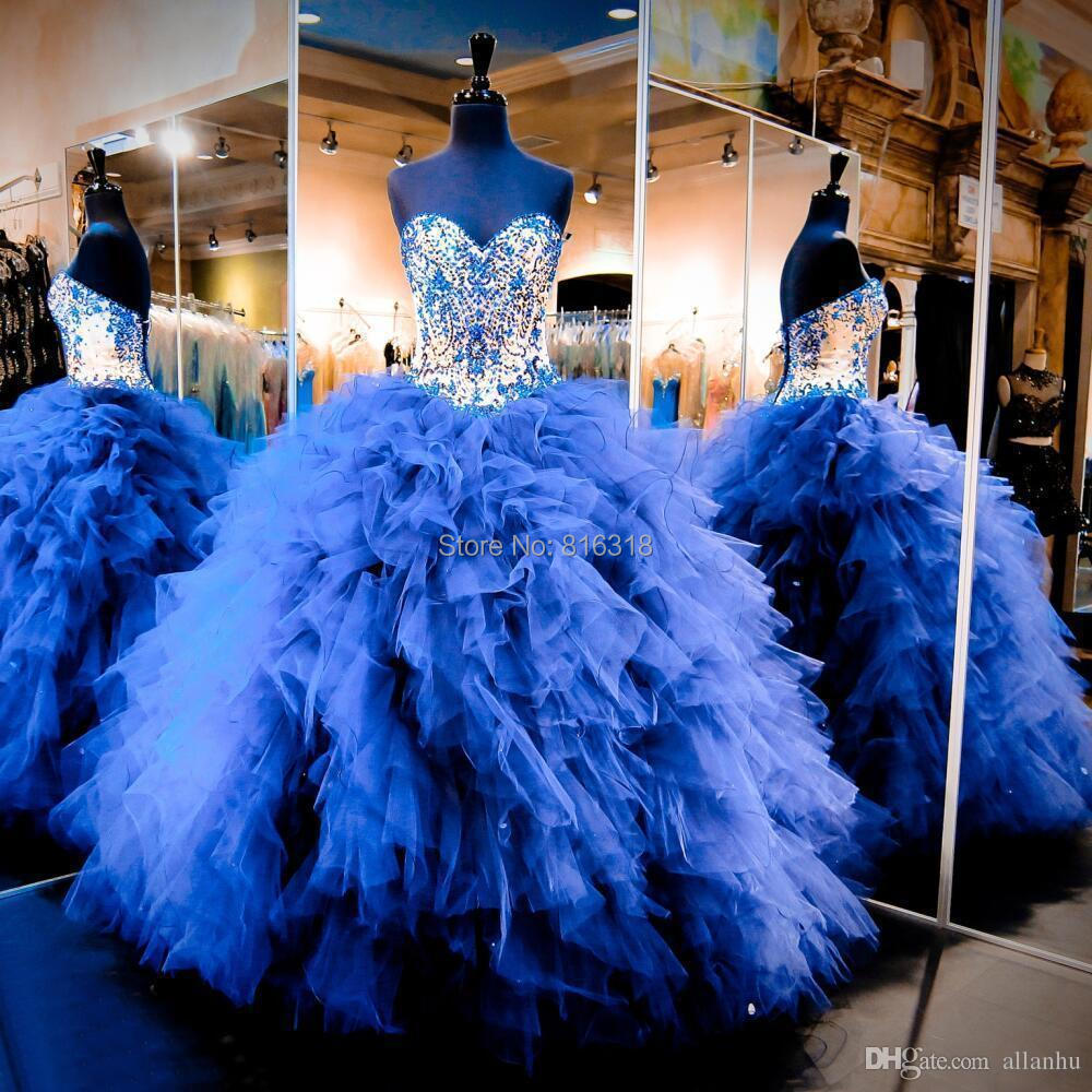 Real Royal Blue Bling Quinceanera Dresses Corset Back Rhonestone Beaded Ball Gown Sweet 16