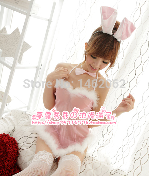 Bunny rabbit clothes sexy lingerie dress uniform temptation furry bunny play four sets a wholesale 8133(China (Mainland))
