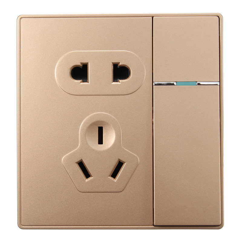86 concealed Wall, 1 Gang 1 Way Socket Switch Panel, Champagne Gold Five Hole Socket, 250V 16A Hot Sale(China (Mainland))