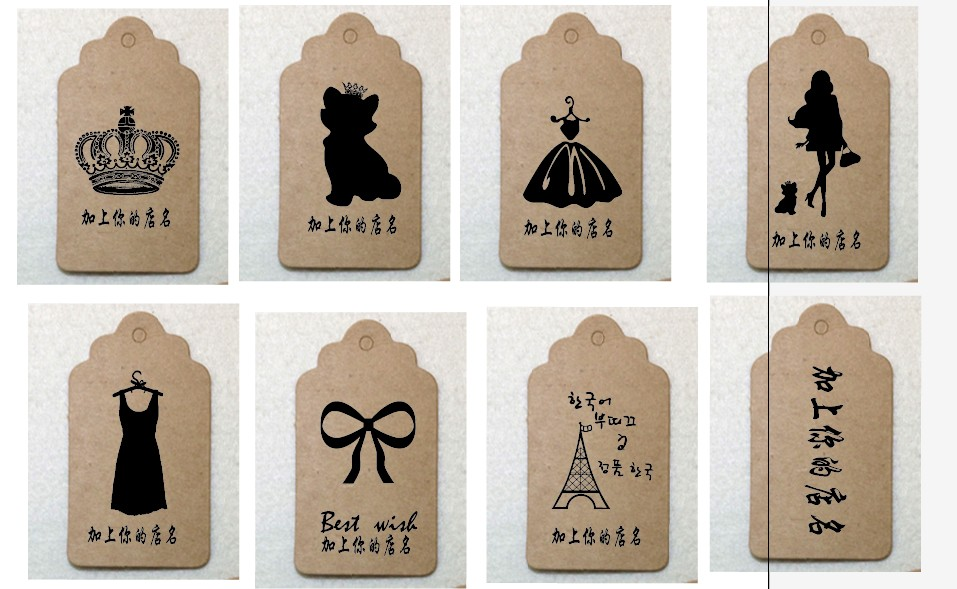 Square small label kraft paper, custom kraft paper tags order blank paper tags 1Lot=1000piece(China (Mainland))