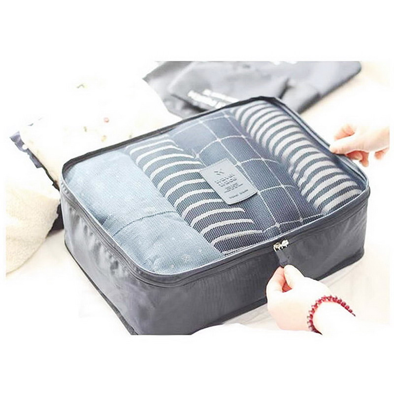 2016 New Design 6 Pcs/Set Waterproof Clothes Storage Bags Packing Cube Travel Luggage Organizer Bags VBH78 P50(China (Mainland))
