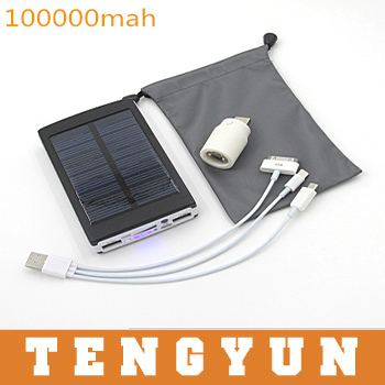 2015 bateria externa external battery New Solar Power Bank 100000mah solar charger powerbank for iPhone for HTC for PSP(China (Mainland))