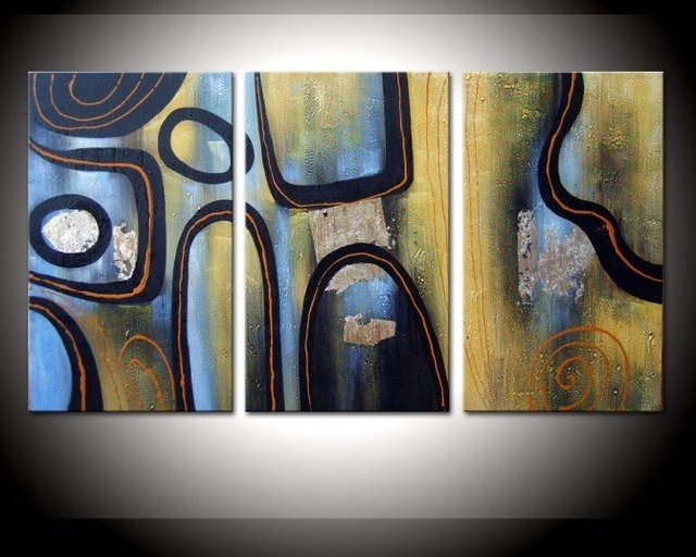 hand-painted The low and orchestra High Q. Wall Decor Modern Abstract Oil Painting on canvas 10x16inch 3pcs/set mixorde Framed