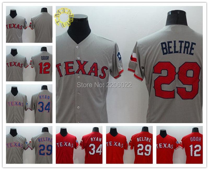 Texas Rangers Jersey 29 Adrian Beltre jerseys 34 Nolan Ryan 12 ODOR Baseball Jersey High quality size:S-3XL red gray(China (Mainland))