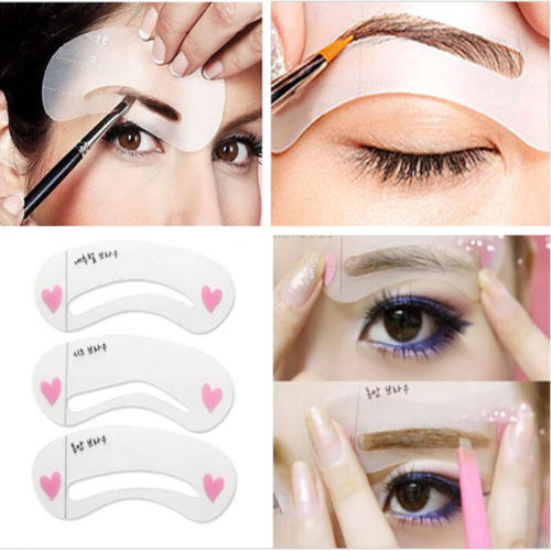 3 Styles Grooming Brow Painted Model Stencil Kit Shaping DIY Beauty Eyebrow Template Stencil Make Up