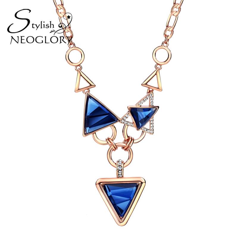 Neoglory Stylish Rose Gold Plated Pendant Necklace Blue & Pink Triangle Glass Czech Rhinestone Rock Jewelry Women Accessories BN(China (Mainland))