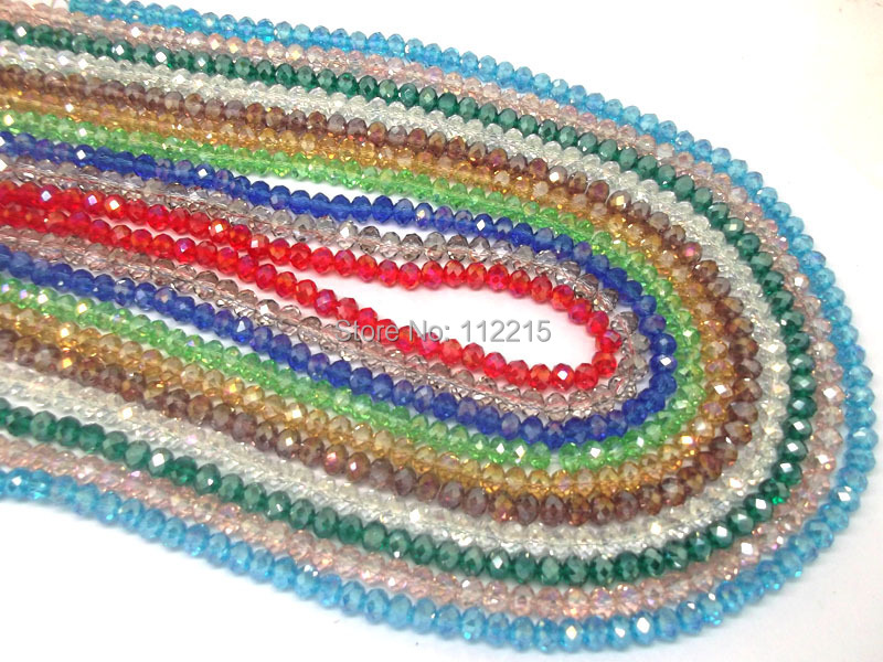 wholesale Free Shipping min>3usd 300pc lot 2 string 4mm white ,Red AB ,pink AB Faceted glass Crystal Beads 10 color pick(China (Mainland))
