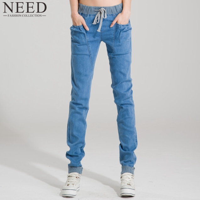 2015 summer style Women Elastic Jeans Woman Loose Harem Jeans Women Harem Pants Plus Size Jeans For Women(China (Mainland))