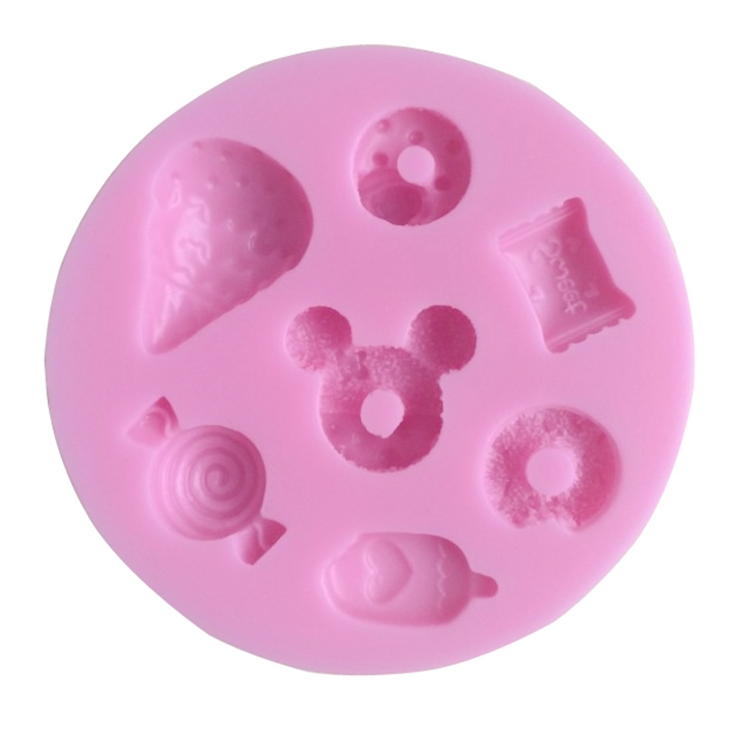 Forms For Candles Different 7pcs/Set Candy Silicone Mold Cookware Dining Bar Non-Stick Cake Decorating Fondant Molds(China (Mainland))