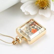 Dry Flowers Collares Transparent Glass Square Pendant Necklace Long Gold Chain Statement Necklace Summer Vintage
