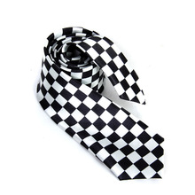 Necktie Neck Tie with Black White Plaid Checkered for Mens 2016 ee