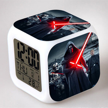 Star Wars Alarm Night Light Clock Lovely Popular Square LED Colorful Digital Electronic Clock America Anime Toys Small Gift #F