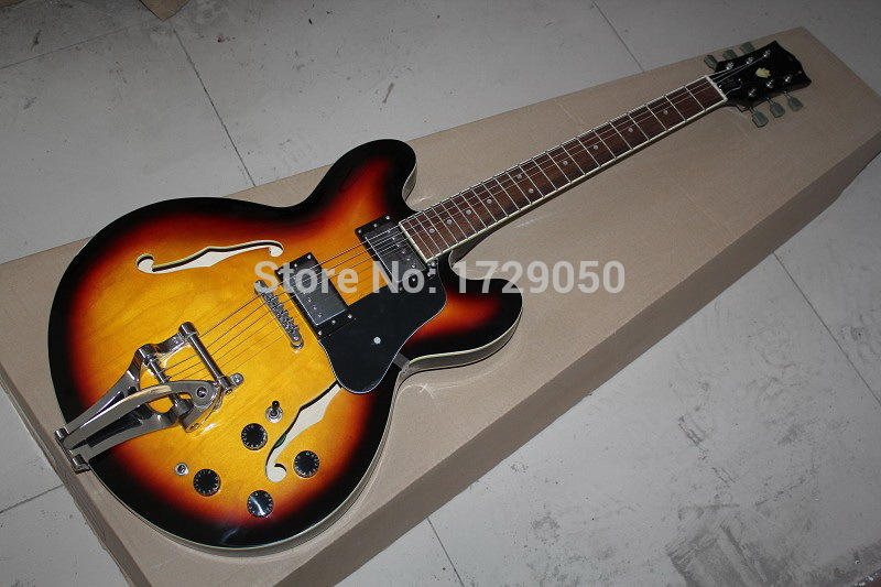 Hot selling!!! Free shipping hollow body g custom shop guitar sunburst with bigsby es 335 jazz electric guitar 11(China (Mainland))