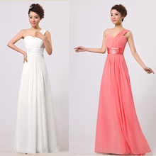 One Shoulder Long Chiffon Formal Party Dresses