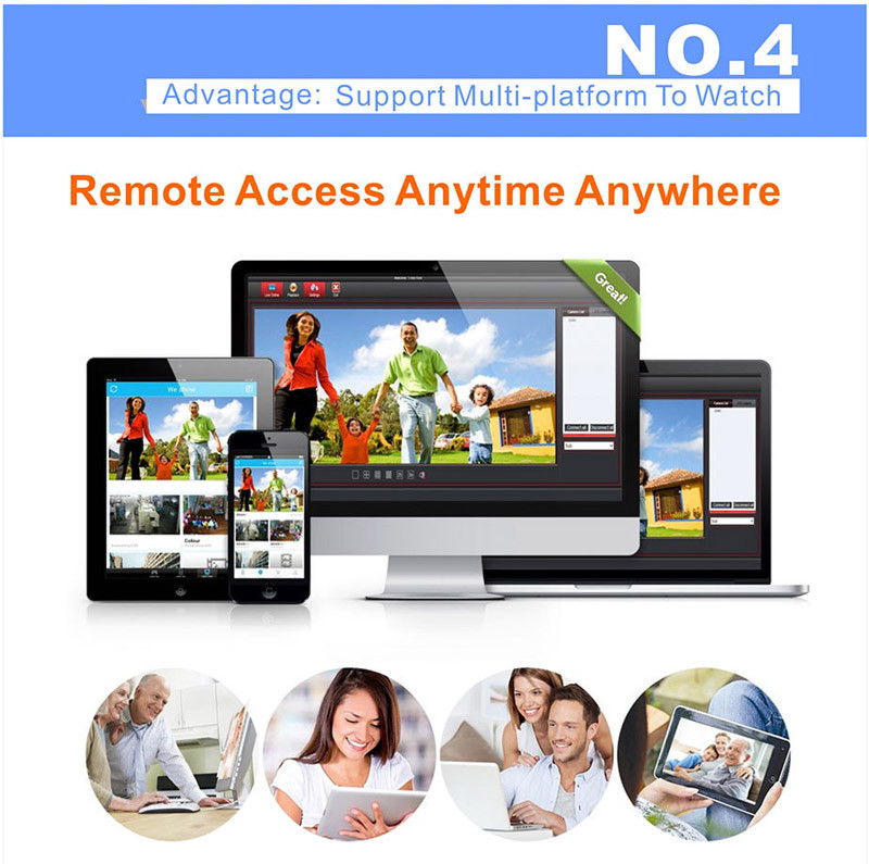 NEW 4 PCS ZM-KW9005 Smart HD WIFI Wireless Monitoring Suits Security Camera System Support Smartphone Remote view Hot Sale