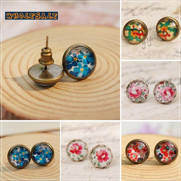 20pairs/Lot Mixed Wholesale Vintage Flowers Glass Cabochon Post Earrings Antique Bronze Images Stud Jewelry Girl 10mm Small 001(China (Mainland))