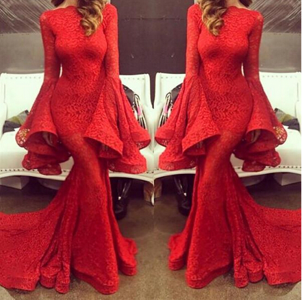 vintage red lace 2016 spring mermaid prom dresses high neck flare long sleeve michael court. Black Bedroom Furniture Sets. Home Design Ideas