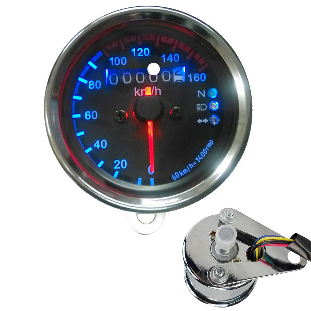 E support 12V Universal Motorcycle Dual Odometer Speed Meter Gauge LED Backlight Signal Car Styling XY01(China (Mainland))