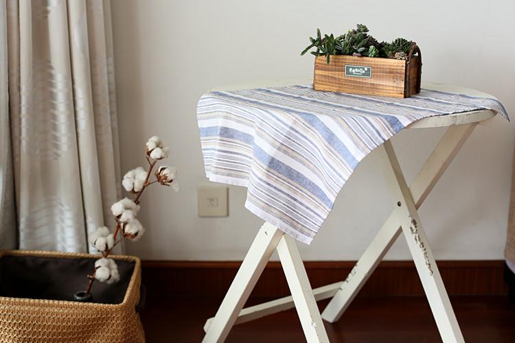 Handmade linen yarn dyed stripe cloth single-side Table Cloth shooting props(China (Mainland))