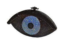 LaiSC Gold Evil eye bag Women clutch bag silver evening bag femme pochette bag luxury Crystal