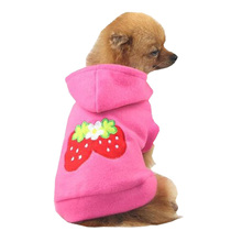 Small Strawberry Puppy Fleece Hoody Clothes Pet Apparel Dress Up