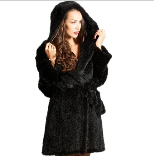 Brand Lady Genuine Knitted Mink Fur Coats Natural Jackets Women's Winter Long Real Furs Hooded Outerwear - store