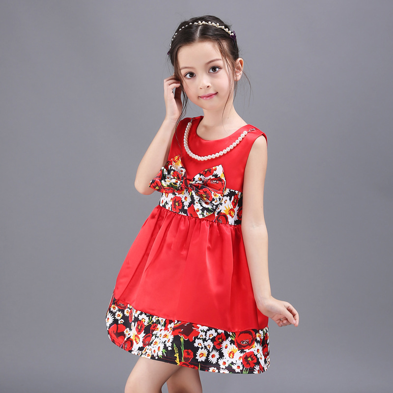 2016 Vetement Enfant Summer Dress Baby Girl Children Dress Sleeveless Princess Dresses Vestidos Ninas Verano Robe Fille Enfant(China (Mainland))